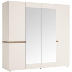 Шкаф Линате четырехдверный с зеркалом